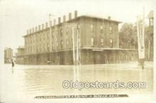 dep001672 - Real Photo - 1908 Flood at Depot, Topeka, KS, Kansas, USA Train Railroad Station Depot Post Card Post Card