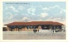 dep001682 - Santa Fe RR Station, Iola, KS, Kansas, USA Train Railroad Station Depot Post Card Post Card