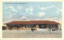 dep001683 - Santa Fe RR Station, Iola, KS, Kansas, USA Train Railroad Station Depot Post Card Post Card