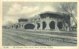 dep001685 - The Sequoyah, Syracuse, KS, Kansas, USA Train Railroad Station Depot Post Card Post Card