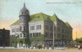 dep001692 - Rock Island Depot, Topeka, KS, Kansas, USA Train Railroad Station Depot Post Card Post Card