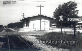 dep001726 - Southern Depot, Cherokee, AL, Alabama, USA Kodak Real Photo Paper Train Railroad Station Depot Post Card Post Card