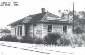 dep001730 - Santa Fe Depot, Ash Grove, KS, Kansas, USA Kodak Real Photo Paper Train Railroad Station Depot Post Card Post Card