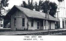 dep001757 - TP and W Depot, Crescent City, IL, Illinois, USA Kodak Real Photo Paper Train Railroad Station Depot Post Card Post Card