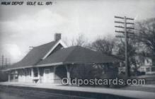 dep001761 - MILW Depot, Golf, IL, Illinois, USA Kodak Real Photo Paper Train Railroad Station Depot Post Card Post Card