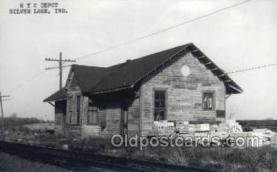 dep001788 - NYC Depot, Silver Lake, IN, Indiana, USA Kodak Real Photo Paper Train Railroad Station Depot Post Card Post Card