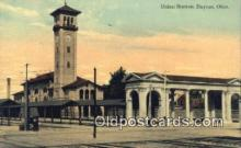 dep001851 - Union Station, Dayton, OH, Ohio, USA Depot Postcard, Railroad Post Card