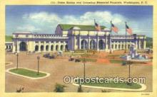 dep001859 - Union Station & Columbus Memorial Fountain, Washington DC, District of Columbia, USA Depot Postcard, Railroad Post Card