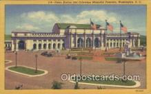 dep001869 - Union Station & Columbus Memorial Fountain, Washington DC, District of Columbia, USA Depot Postcard, Railroad Post Card