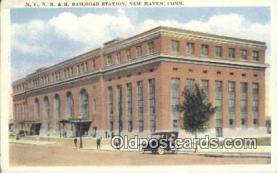 dep001909 - NY, NH & H Railroad Station, New Haven, CT, Connecticut, USA Depot Postcard, Railroad Post Card