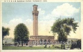dep001910 - NY, NH & H Railroad Station, Waterbury, CT, Connecticut, USA Depot Postcard, Railroad Post Card