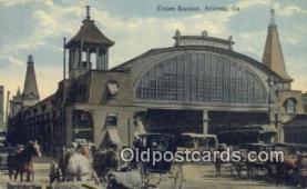 dep001921 - Union Station, Atlanta, GA, Georgia, USA Depot Postcard, Railroad Post Card