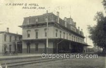dep001935 - UP Depot & Hotel, Abilene, KS, Kansas, USA Depot Postcard, Railroad Post Card