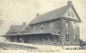 dep001943 - WMRR Depot, Union Bridge, MD, Maryland, USA Depot Postcard, Railroad Post Card