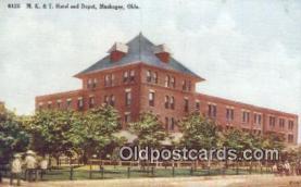 dep001989 - MK & T Hotel & Depot, Muskogee, OK, Oklahoma, USA Depot Postcard, Railroad Post Card