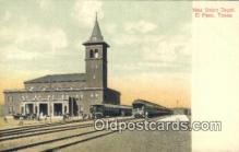 dep002001 - New Union Depot, El Paso, TX, Texas, USA Depot Postcard, Railroad Post Card