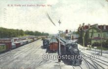 dep002018 - RR Yards & Station, Portage, WI, Wisconsin, USA Depot Postcard, Railroad Post Card