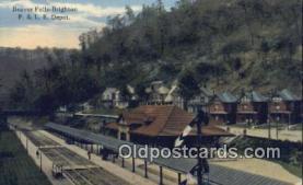 dep002029 - P & LE Depot, Beaver Falls, Brighton, PA USA Depot Postcard, Railroad Post Card