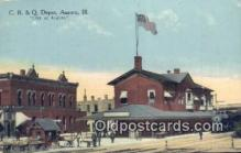 dep002039 - C B & Q Depot, Aurora, IL, Illinois, USA Depot Postcard, Railroad Post Card