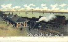 dep002046 - CRI & P Depot & MN & S Depot, Muscatine, IA, Iowa, USA Depot Postcard, Railroad Post Card