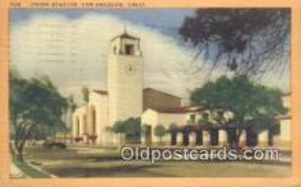 dep002096 - Union Station, Los Angeles, CA, California, USA Depot Postcard, Railroad Post Card