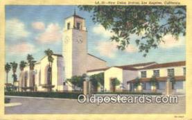 dep002098 - New Union Station, Los Angeles, CA, California, USA Depot Postcard, Railroad Post Card