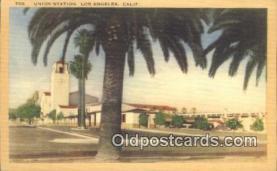 dep002099 - Union Station, Los Angeles, CA, California, USA Depot Postcard, Railroad Post Card