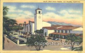 dep002100 - New Union Station, Los Angeles, CA, California, USA Depot Postcard, Railroad Post Card