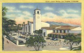 dep002108 - Union Station, Los Angeles, CA, California, USA Depot Postcard, Railroad Post Card