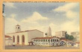 dep002110 - Union Station, Los Angeles, CA, California, USA Depot Postcard, Railroad Post Card