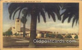 dep002117 - Union Station, Los Angeles, CA, California, USA Depot Postcard, Railroad Post Card