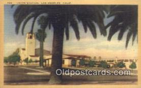 dep002119 - Union Station, Los Angeles, CA, California, USA Depot Postcard, Railroad Post Card