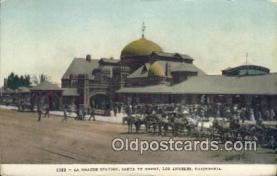 dep002121 - La Grande Station, Santa Fe Depot, Los Angeles, CA, California, USA Depot Postcard, Railroad Post Card