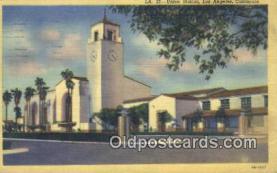 dep002123 - Union Station, Los Angeles, CA, California, USA Depot Postcard, Railroad Post Card