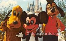 dis001118 - Magic Kingdom, Mickey Mouse, Pluto & Goofy Walt Disney World, FL, USA Postcard Post Card