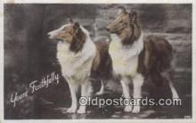 dog100571 - Collie Postcard, Dog Post Card, Old Vintage Antique