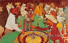 dog200021 - Roulette is An Exciting Game Painting by Crosby DeMoss Postcard Post Card