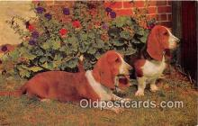 dog200140 - Basset Hounds Salmon Watercolour Postcard Post Card