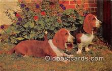 dog200172 - Basset Hounds Salmon Watercolour Postcard Post Card
