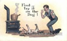 drk001063 - First Try it on the Dog  Postcard Post Cards Old Vintage Antique