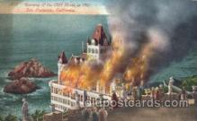 dtr001026 - Burning of Cliff House, 1907 San Francisco, California, CA USA Disaster, Wrecks, Postcard Post Card Old Vintage Antique