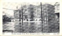 dtr001035 - New Albany, Indiana, IN, USA Flood Junior High School, Jan. 1937 Disaster, Wrecks, Postcard Post Card Old Vintage Antique