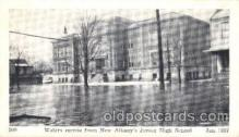 dtr001044 - New Albany, Indiana, IN, USA Flood Junior High School, Jan. 1938 Disaster, Wrecks, Postcard Post Card Old Vintage Antique