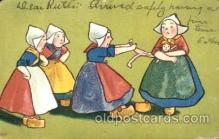 dut001016 - Dutch Children Old Vintage Antique Postcard Post Card