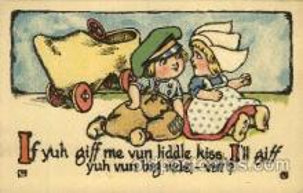 dut001030 - Dutch Children Old Vintage Antique Postcard Post Card