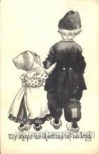 dut001092 - Artist Bernhardt Wall, Dutch Children Old Vintage Antique Postcard Post Card