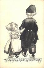 dut001092 - Artist Bernhardt Wall, Dutch Children Old Vintage Antique Postcard Post Card