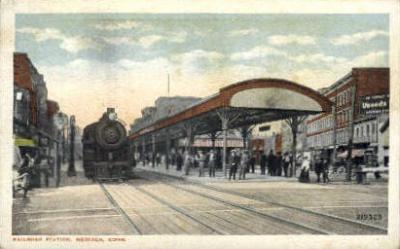 dep-CT025 - Railroad Station, Meriden, Connecticut CT, USA Railroad Train Depot Postcard Post Card