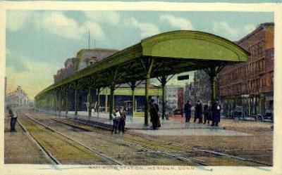 dep-CT026 - Railroad Station, Meriden, Connecticut CT, USA Railroad Train Depot Postcard Post Card