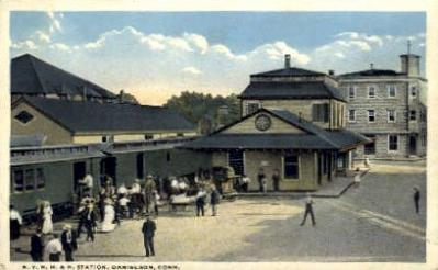 dep-CT035 - N.Y. N.H. and H. Station, Danielson, Connecticut CT, USA Railroad Train Depot Postcard Post Card